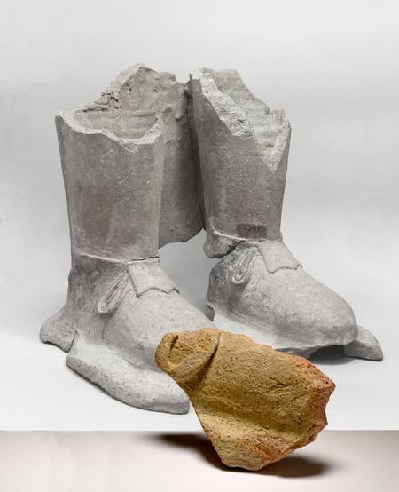 Figure 2: Fragment of a shoe, found in 2020, compared to a find from the 1885's excavation